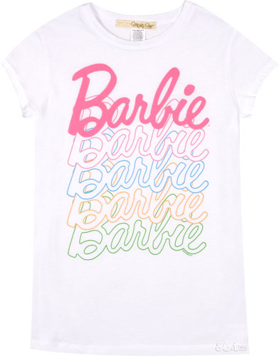 Large Barbie Logo http://www.truffleshuffle.co.uk/store/ladies-barbie-logo-tshirt-from-mighty-fine-p-1421.html