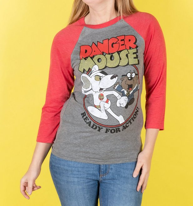 An image of Danger Mouse Ready For Action Grey and Red Raglan Baseball T-Shirt