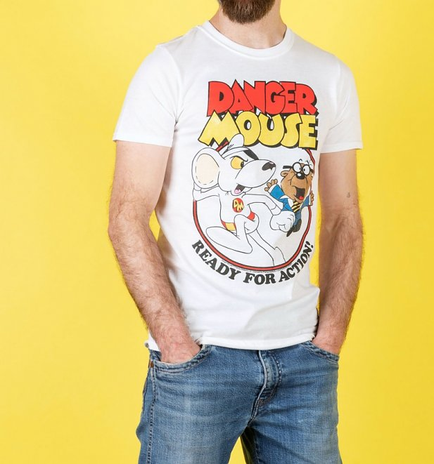 An image of Mens Danger Mouse Ready For Action White T-Shirt